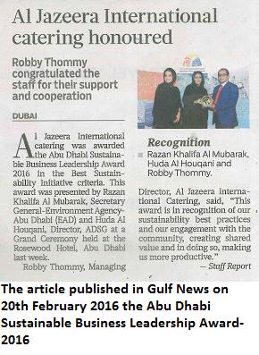 Al Jazeera International Catering Honoured