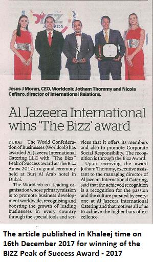 Al jazeera international Bizz award
