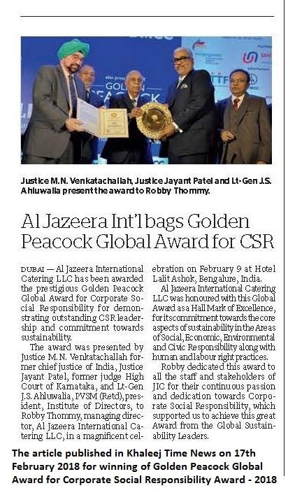 Al jazeera golden peacock award